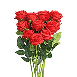 Luyue Artificial Silk Rose Flower Bouquet Wedding Party Home Decor, Pack of 10 (Style 1-Red) 34
