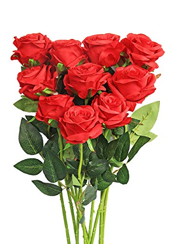 Luyue Artificial Silk Rose Flower Bouquet Wedding Party Home Decor, Pack of 10 (Style -