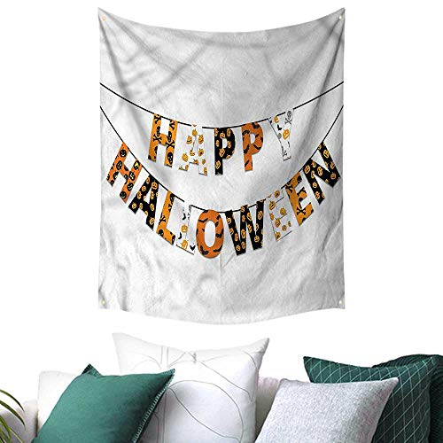 sunsunshine Halloween Square Tapestry Greetings Pumpkins Skull 51W x 60L INCH,Home Decorations for Living Room -