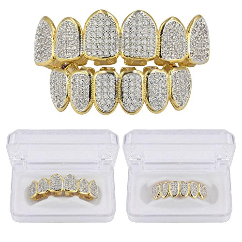 JINAO 18k Gold Plated All Iced Out Luxury Rhinestone Gold Grillz Set with Extra Molding Bars Included (Classic Set) by JINAO (Image #3)