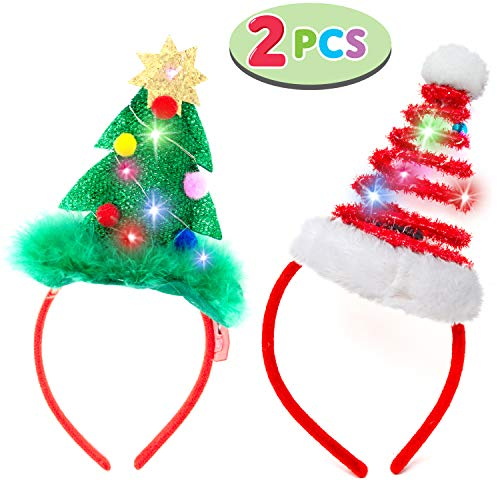 2 Pcs Lighted Christmas Headbands with LED lights in Springy Santa Hat& Christmas Tree Designs for Christmas and Holiday Parties (ONE SIZE FIT -