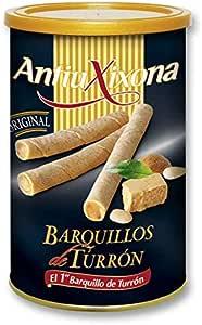 Pack de latas de Barquillos de turrón, caja de 2,4 Kg (12 latas x 200 gramos) - Barquillo de galleta crujiente, relleno de Turrón de sabor intenso y alta calidad. Antiu xixona