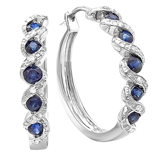 (Dazzlingrock Collection Round Lab Created Blue Sapphire & White Diamond Hoop Earrings, Sterling Silver)