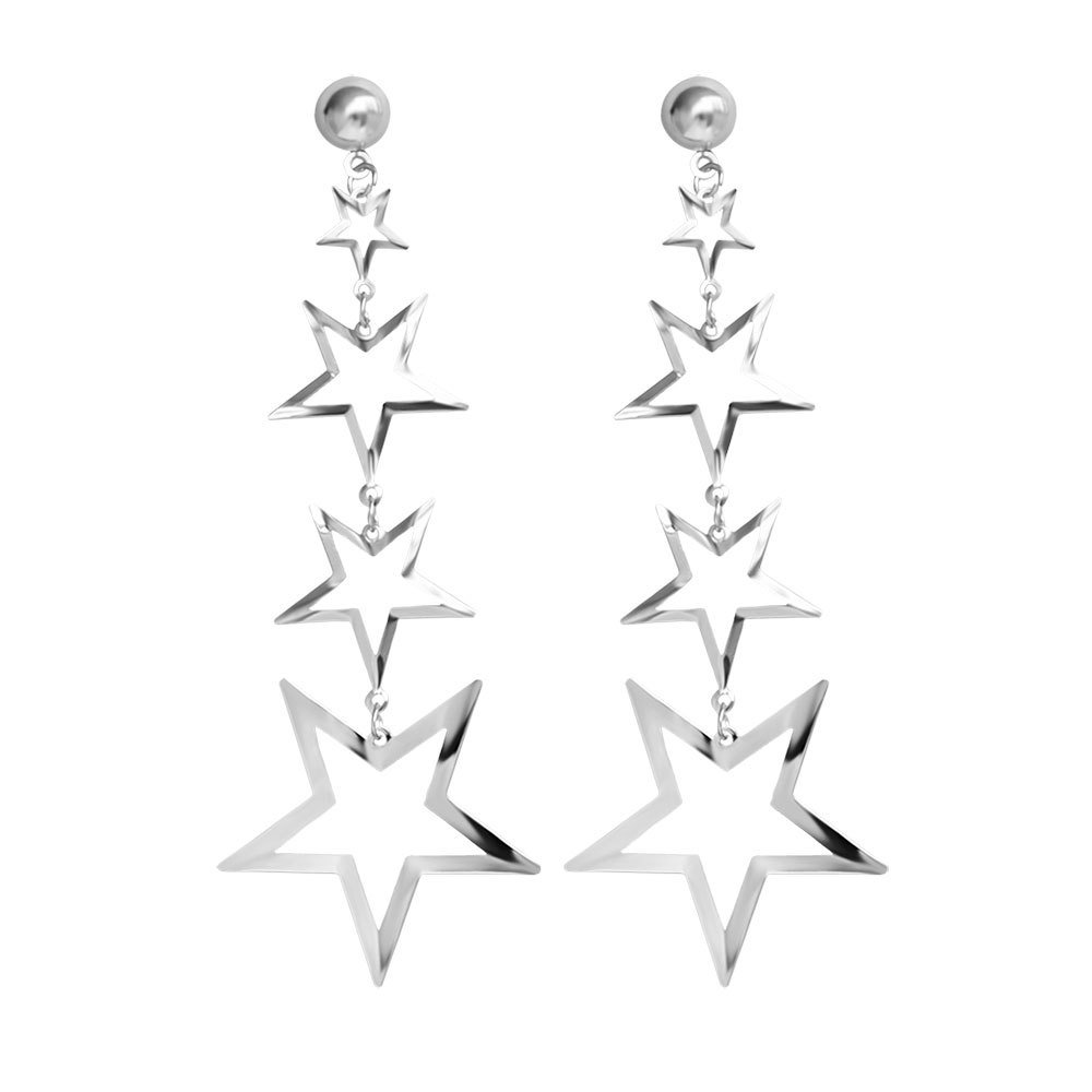 Dream Date Hollow Out Titanium Steel Star Drop Earring (Slver)
