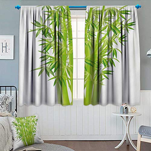 Chaneyhouse Exotic Room Darkening Curtains Bamboo Stems with Leaves Spiritual Fresh Bunch Tropical Plant Eco Foliage Print Customized Curtains 55