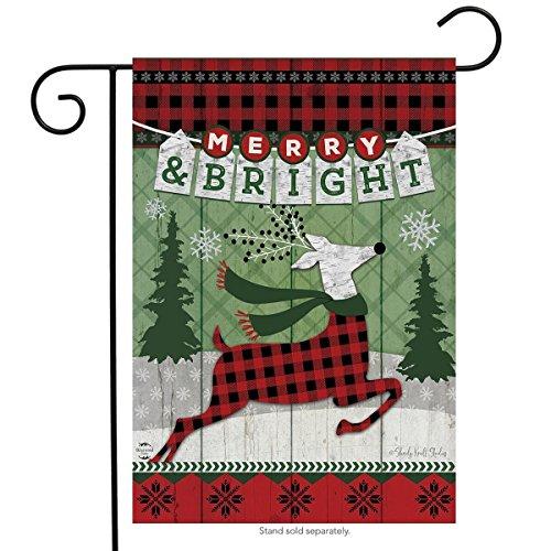 (Merry & Bright Reindeer Christmas Garden Flag Primitive Holiday 12.5