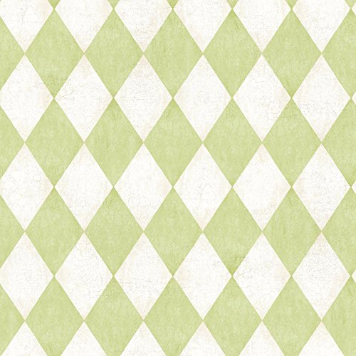 Large Harlequin Wallpaper - York Wallcoverings American Classics Old World Harlequin Wallpaper Memo Sample, 8 by 10-Inch, Off White, Grey, New Sprout Green, Frosty Kiwi Green