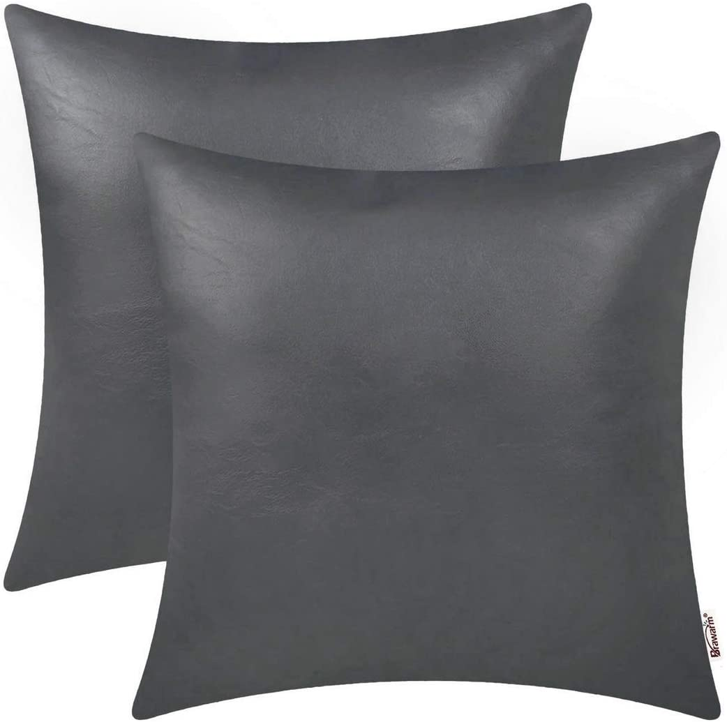 BRAWARM Pack of 2 Cozy Throw Pillow Covers Cases for Couch Sofa Home Decoration Solid Dyed Soft Faux Leather Both Sides 20 X 20 Inches Charcoal Gray