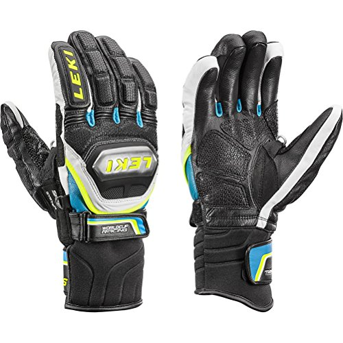 World Cup Gloves (Leki World Cup Race Ti Speed System Glove Ski Racing Gloves - X-Large/Black-White-Cyan-Yellow)
