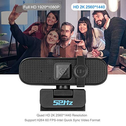 USB Webcam Quad HD 2K with Microphone Streaming Web Camera with 5MP Image Sensor Double EMES MICS Auto Focus and Light Correction for Online Video Meeting