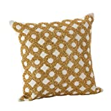 SARO LIFESTYLE Seren Collection Beaded Design Down Filled Cotton Throw Pillow, 12'', Gold