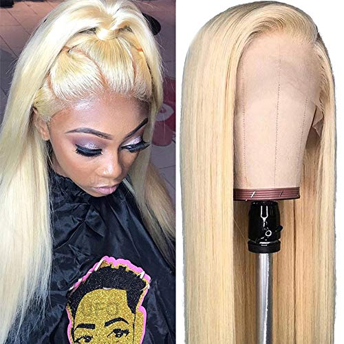 Glueless 613 Blonde Lace Front Wig 100% Remy Brazilian Human Hair Wig With Baby Hair Pre Plucked Natural Straight Bleach Knot For Women 22inch 130 Density ()