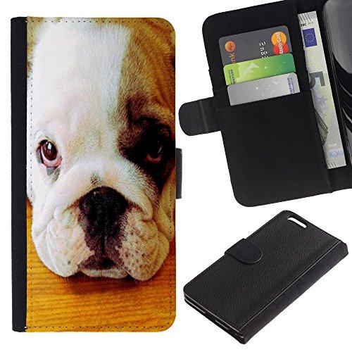 LASTONE PHONE CASE / Luxe Cuir Portefeuille Housse Fente pour Carte Coque Flip Étui de Protection pour Apple Iphone 6 PLUS 5.5 / American Pit Bull Terrier Bulldog Puppy