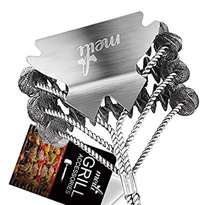MEILI Grill Brush & Scraper Tool,Best BBQ Brush for Grill (3-in-1) Ergonomic Gas, Charcoal, Infrared, Smoker Accessories Grate Cleaner | Heavy-Duty Stainless-Steel Wire Brushing | Surface Safe