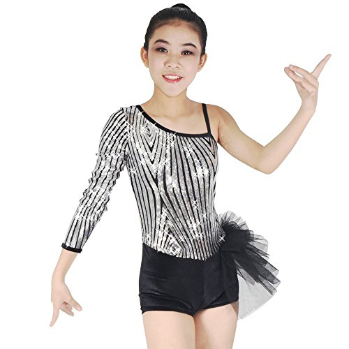 MiDee Diagonal-neck Sequins Tap & Jazz Velvet Biketard Dance Costume (LA, Silver/Black