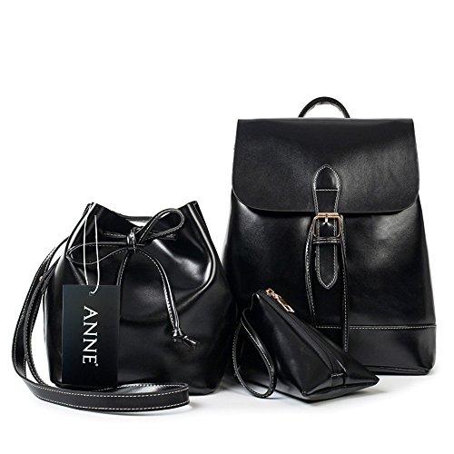 ANNE - Bolso mochila  de Poliéster para mujer negro rojo vino negro