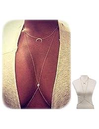 Bestjybt® Bikini Moon Diamond Crystal Charm Crossover Harness Waist Belly Body Chain Necklace