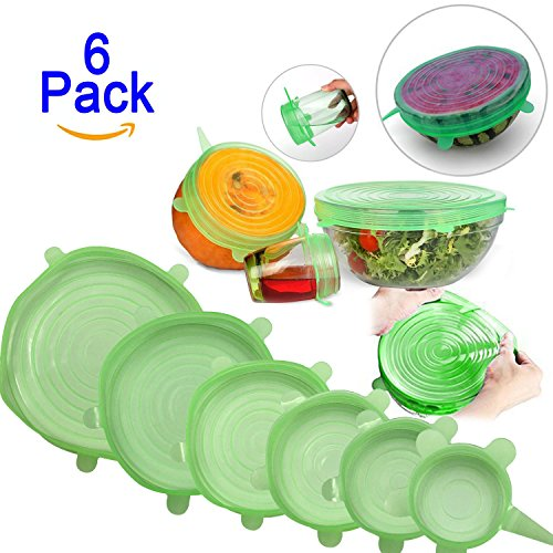 Kuke Silicone Stretch Lids,6 pcs Multi Size Reusable Containers Covers,Preserve Food,Dishwasher and Freezer Safe