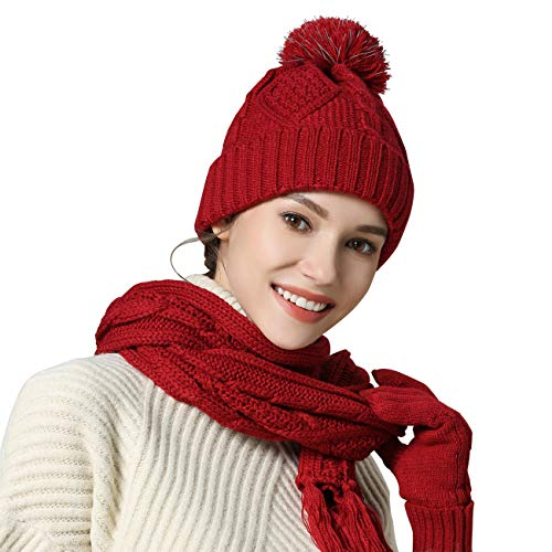 - Knit Hat/Scarf/Gloves Set, Women Men Unisex Cable Knit Winter Cold Weather Gift Set (Red)