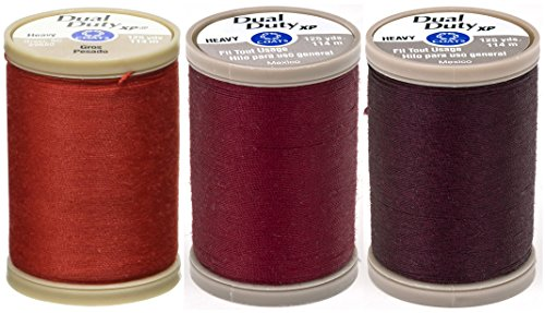 3-PACK - Coats & Clark - Dual Duty XP Heavy Weight Thread - 3 Color Bundle - (Red + Barberry Red + Maroon) 125yds Each (Maroon Coat)