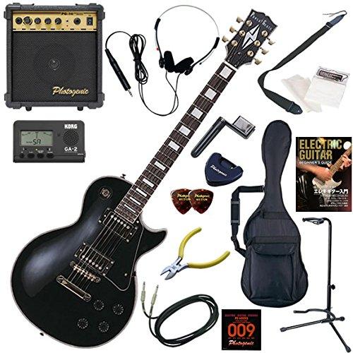 Photogenic エレキギター 初心者 入門 レスポールタイプ 10wアンプが入ったスタンダード15点セット LP-300/BK(ブラック) B004C8KZVA BK(ブラック) BK(ブラック)