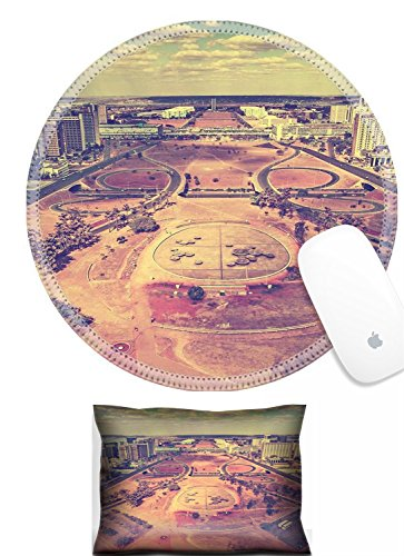 Luxlady Mouse Wrist Rest and Round Mousepad Set, 2pct IMAGE: 30655427 Vintage skyline of Brasilia City (Brasilia Table)