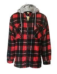 Mens Check Plaid Fleece Lined Hooded Worker Lumberjack Jacket