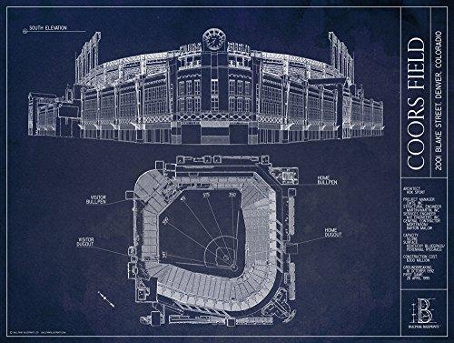Coors Field Blueprint Style Print (Unframed, 18