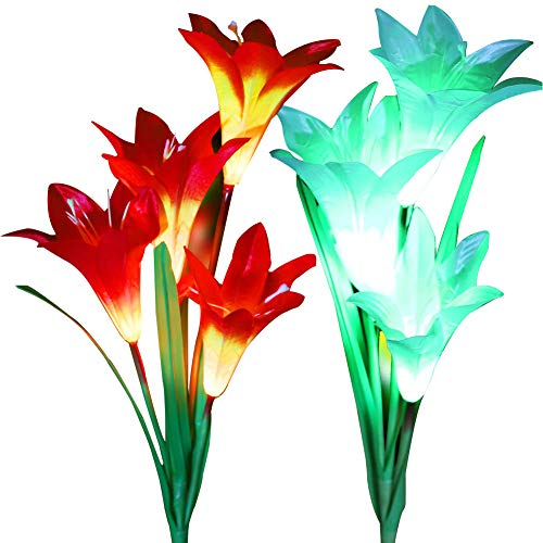 (LOVAC Outdoor Solar Garden Stake Lights,2Pack Solar Powered Lights with 8 Lily Flowers,Multi-Color Changing LED Solar Stake Lights for Patio,Garden,Backyard,Yard Decoration(Orange&White))