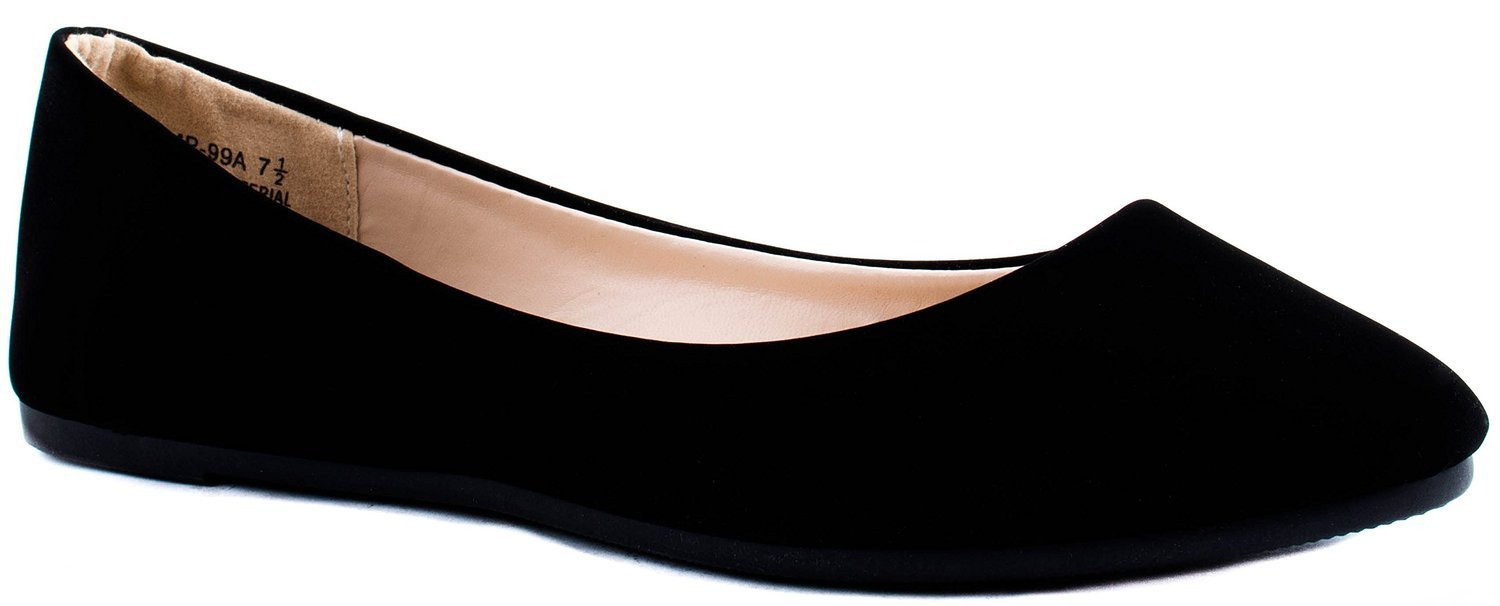 Bamboo Shoes Women's Jump-99A Slip-on Pointed Suede/Patent/Glt Ballet Flats B00YDJZ4M8 8 B(M) US|Black