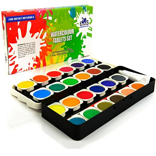 Watercolor Paint Set - Best Artist Kit of 24-Color Paint - for Kids Adults Beginners and Professionals - Extra Light Travel Case - Brush in the Kit - Opaque Pan Set - Create Great Painting on Paper