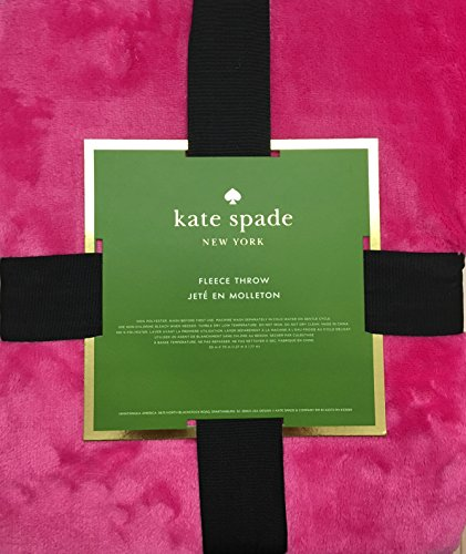 Kate Spade Luxury Fleece Throw | Vibrant HOT PINK | Easy Care, Machine Wash