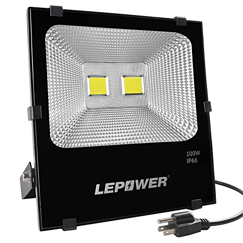 (LEPOWER New Craft 100W LED Flood Light, Super Bright Outdoor Work Light, 500W Halogen Bulb Equivalent, IP66 Waterproof, 8000lm, 6500K, White Light,Floodlight (100W White)