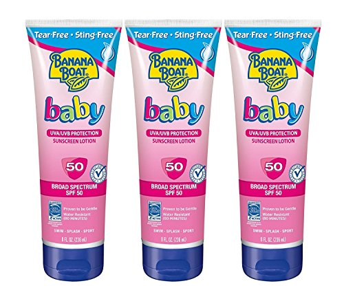 Banana Boat Baby Sunscreen Lotion SPF 50, 8 Ounce (Pack of 3)
