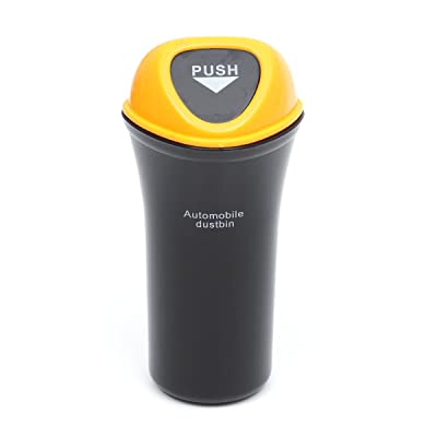 VORCOOL Car Trash Can Small Leakproof Vehicle Trash Bin Auto Garbage Can (Yellow): Automotive