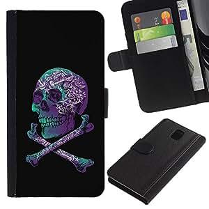Estuche de Cuero Billetera del tirón Tarjeta de la Bolsa Titular de Suave Caso para Samsung Galaxy Note 3 III N9000 N9002 N9005 / CECELL Phone case / / Purple Black Crossbones Teal Skull /