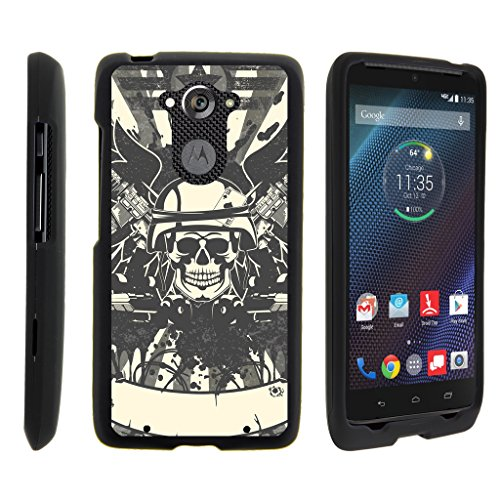 TurtleArmor | Motorola Droid Turbo Case | XT1254 | Moto Maxx Case [Slim Duo] Ultra Slim Hard Matte Coat Protector 2 Piece Snap On Cover on Black War and Military Design - Military Skull
