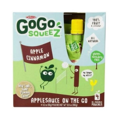 GoGo Squeez Apple Cinnamon On The Go Applesauce, 3.2 Ounce - 4 per pack - 12 packs per case.
