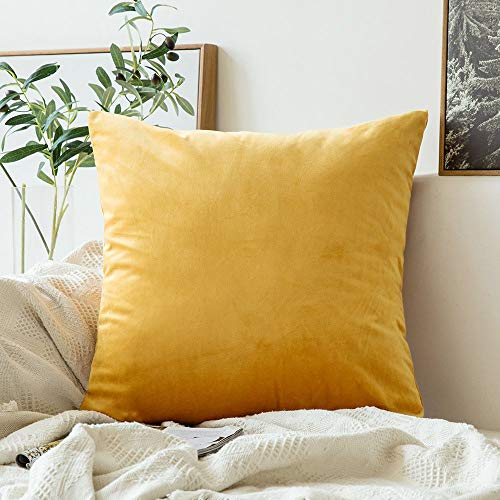 MIULEE Velvet Pillow Covers Decorative Square Pillowcase Soft Soild Gold Cushion Case for Sofa Bedroom Car 26 x 26 Inch 66 x 66 cm
