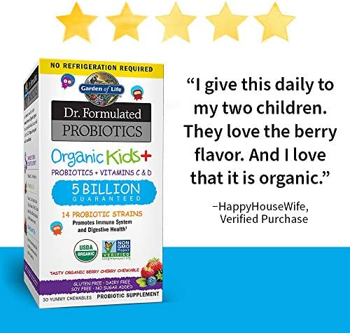 51XsF2tCvZL. AC - Garden Of Life Dr. Formulated Probiotics Organic Kids+ Plus Vitamin C & D - Berry Cherry - Gluten, Dairy & Soy Free Immune & Digestive Health Supplement, No Added Sugar, 30 Chewables (Shelf Stable)