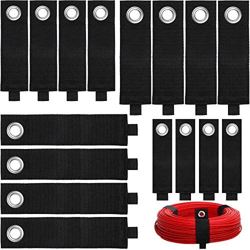 16 Pieces Heavy Duty Storage Straps Extension Cord Holder Organizer Hook and Loop Adjustable Cable Tie Strap Holder for Cables Hoses Rope Garage Shop Home Boat and More Black