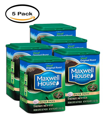PACK OF 5 -Maxwell House Original Roast Decaf Ground Coffee Filter Packs, 10 count, 5.3 OZ (150g) Canister