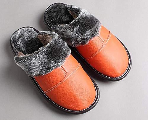 Antidérapant 37 Pantoufles Vin Rouge Oudan Orange Similicuir Pour Taille Femmes En D'hiver Doux coloré Cuir 4RZwaZTqO