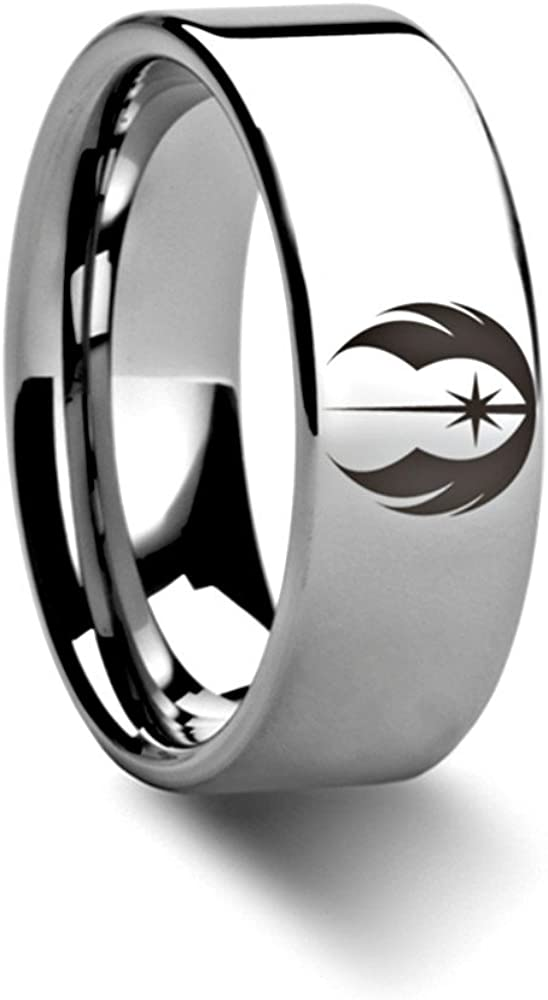 Thorsten Jedi Order Insignia Emblem from Star Wars Wedding Band Ring Tungsten 12mm Wedding Band Ring from Roy Rose Jewelry