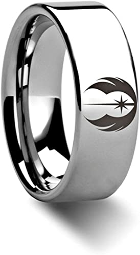 Thorsten Jedi Order Insignia Emblem from Star Wars Wedding Band Ring Tungsten 6mm Wedding Band Ring from Roy Rose Jewelry