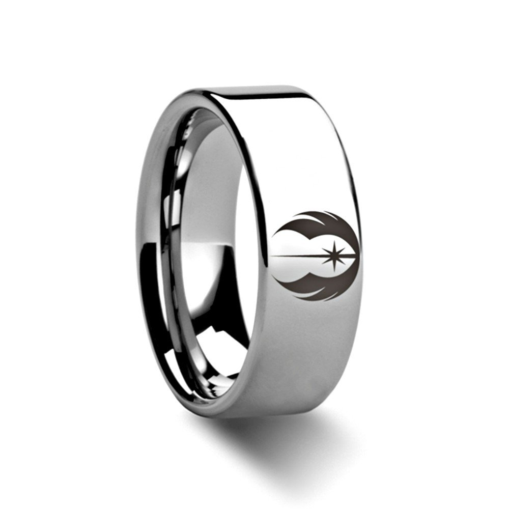Jedi Order Insignia Emblem from Star Wars Wedding Band Ring Tungsten Engraved 6mm Band Ring by Thorsten from Roy Rose Jewelry