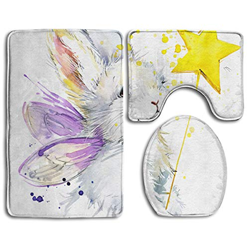 (Gfaten White Rabbit Yellow Stars with Purple Wings Customized 3-Piece Bath Mat Set Soft Non-Slip for Bathroom)