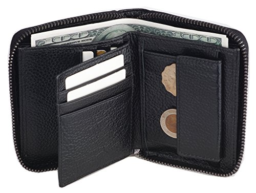 Admetus Mens Genuine Leather Bi-Fold Wallet