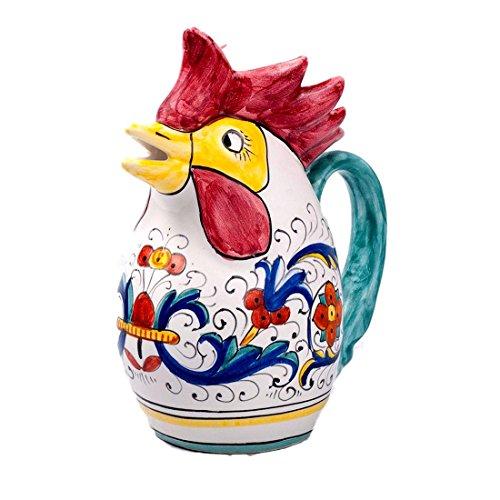 - MICHELANGELO Ceramic Handpainted Italy Art & Crafts Pottery - Rooster Medium Pitcher L ½, Ricco deruta decoration, in Ceramic 10.5x17 H19,5 cm (BLUE)