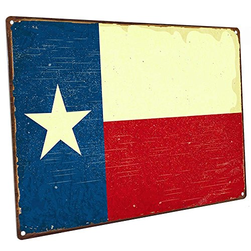 (Texas Flag Metal Sign, Vintage Sign, Rustic Decor )